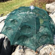 Automatic Fishing Net Shrimp Cage Nylon Foldable Crab Fish Trap Cast Net Cast Folding Fishing Network4/6/8/10/12/16/20 Holes