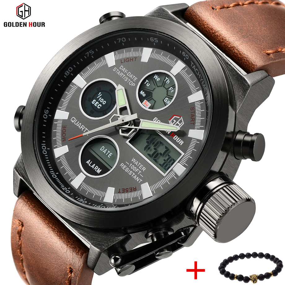 2017 New LED Digital Analog Quartz Watch Men Luxury Brand Pilot Military Sports Wristwatches Male Clock Relogio Masculion Hodink