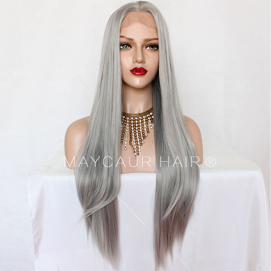 _0011_Maycaur 180 Density Gray Color Natural Straight Synthetic Lace Front Wigs for Women Glueless Natural Baby Hair (2)