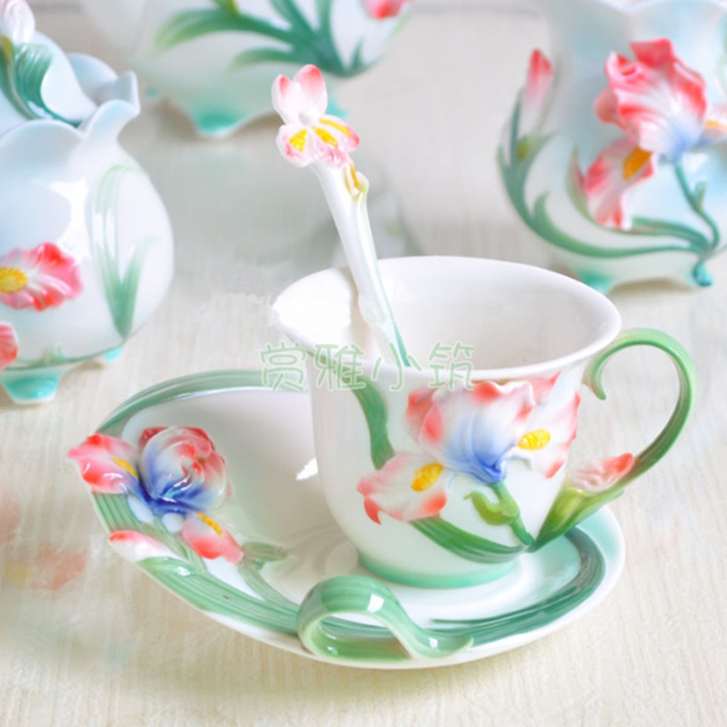 European Style Iris <font><b>Coffee</b></font> <font><b>Cup</b></font> <font><b>Set</b></font>, China Bone Ceramic Tea Mlik <font><b>Cup</b></font> and Saucer With Spoons Creative Drinkware Gift image