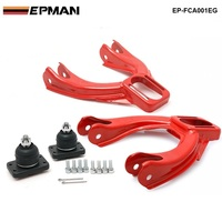 Adjustable Front Upper Control Arm Camber Kit For Honda Acura Jdm Powdered Style Red EP FCA001EG