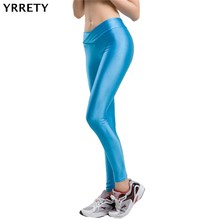 Shiny Pants Sportswear Jegging Elastic Neon High-Waist Fashion YRRETY Candy-Colors Strtched