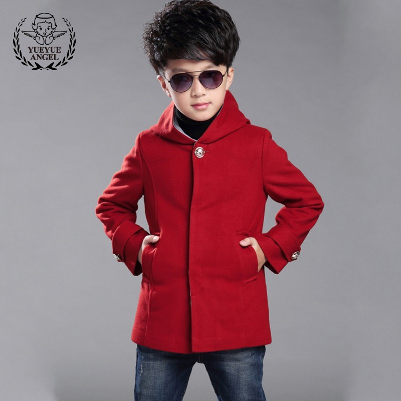 Hot 2018 Winter Woolen Coat For Boys 8 Year Cap Warm Thicken Single-Breasted Long Boy Wool Coat Red Casual Cotton Baby Coats 12T