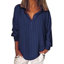 Модные летние женские блузки в полоску, свободная повседневная полосатая рубашка на пуговицах с отворотом, рубашка с длинными рукавами для девочек, топ, блуза на пуговицах, женская одежда