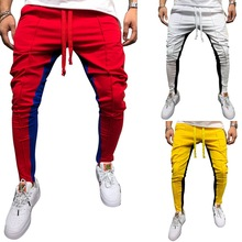 2019 Fashion Solid Men Joggers Hip Hop Striped Pantalon Homme Casual Drawstring Long Pants Men Summer Pleated Pencil Sweatpants