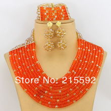 African Wedding Jewelry Sets Crystal Beads Jewelry Set Orange&Champagne 10 Rows Wedding&Anniversary Necklace Jewelry Set AJS228