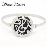 Stainless Steel Silver Musical Note Mangetic Aromatherapy Essential Oils Diffuser Locket Bracelet Bangle Jewelry