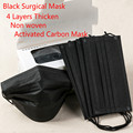 Black Surgical Mask Face Mouth Masks Black Disposable 50 Pcs  Medical  Dust Ear Loop 4 Layers Thicken Activated Carbon Mask