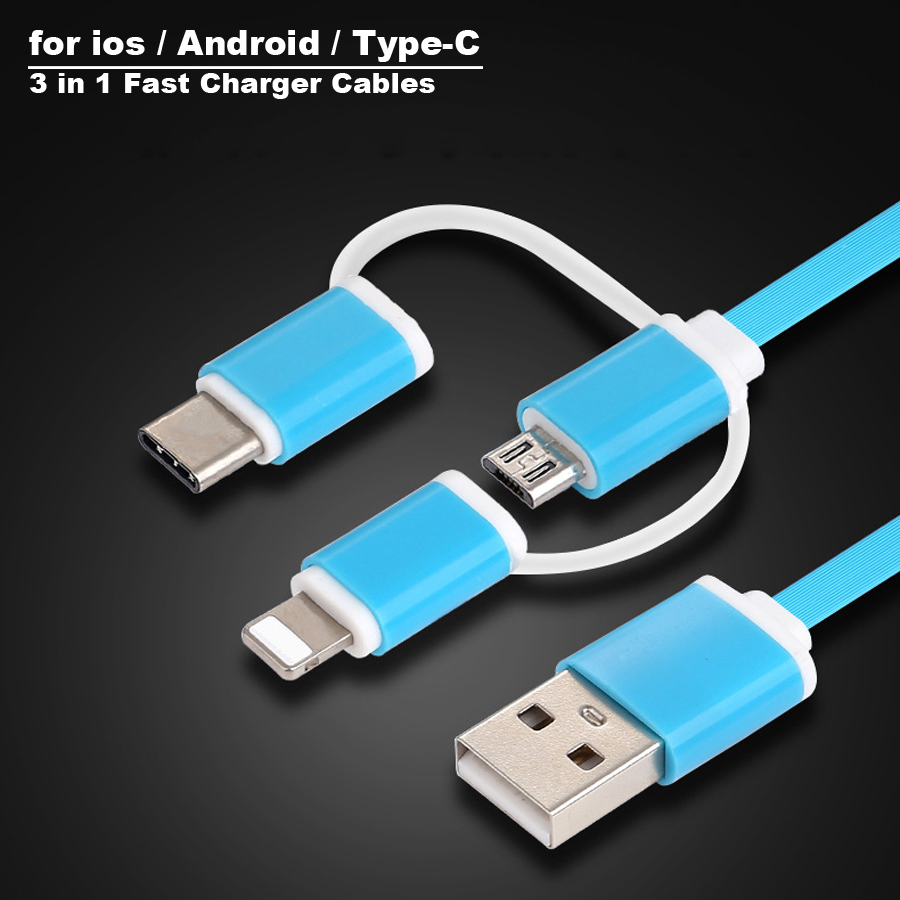 New Micro USB Cable Type-C 8pin 3 in 1 For iPhone 7 6 6S Plus iOS 10 9 8 Android Xiaomi LG Cable 2.4V Fast Charger Cables