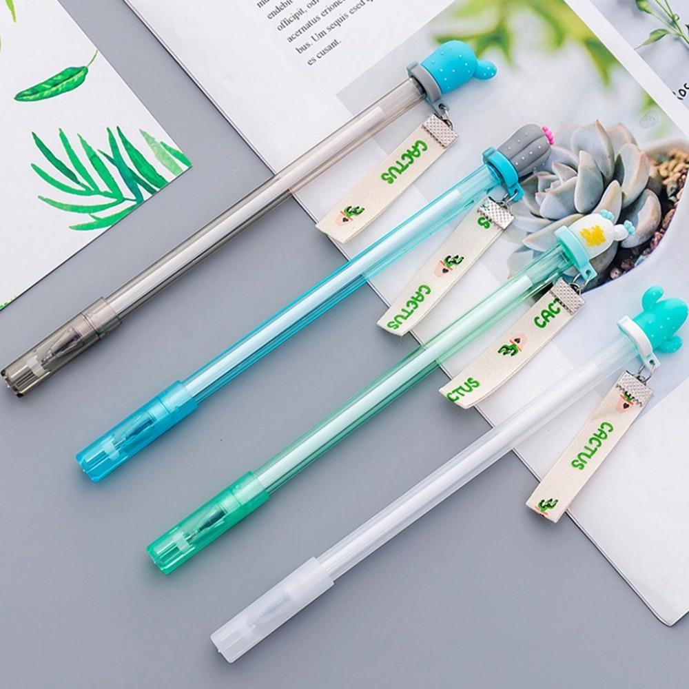 4pcs Ribbon Gel Pen Black Ink Promotional Gift Stationery School Office Supply