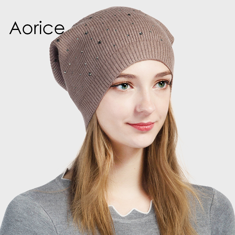 Aorice New Fashion Autumn Winter Warm Dot Crystal Woolen Beanies Solid Trend Skullies Fine Quality Cap Female Causal Hats HK709
