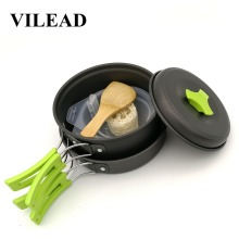 VILEAD 1-2 Person Outdoor Portable Combination Camping Pot Set Ultra-light Split Tableware Anecdote Dinnerware Aluminum alloy
