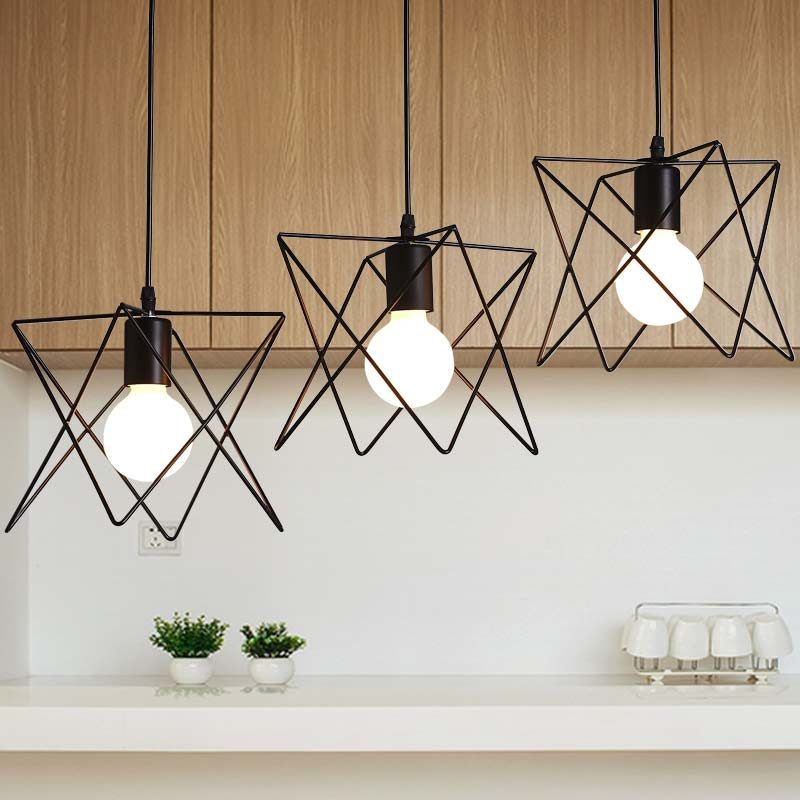 Vintage Pendant Light Industrial E27 Lamp Dining Room Kitchen Restaurant Decor Black Iron Home Lighting Fixtures 110-220V new rope lamp modern country pendant light restaurant kitchen dining room black iron flaxen fabric lampshade decor e14 110 240v