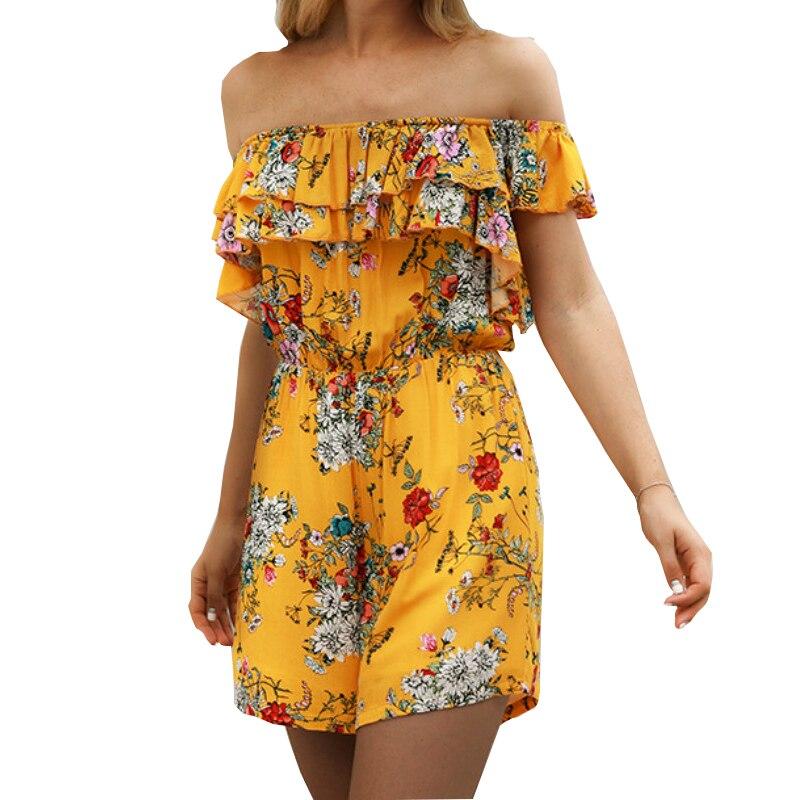 Floral Printed Boho Beach Playsuit Ruffles Short Sleeve Sexy Salsh Neck Rompers Summer Chiffon Women Playsuits Fashion New GV038