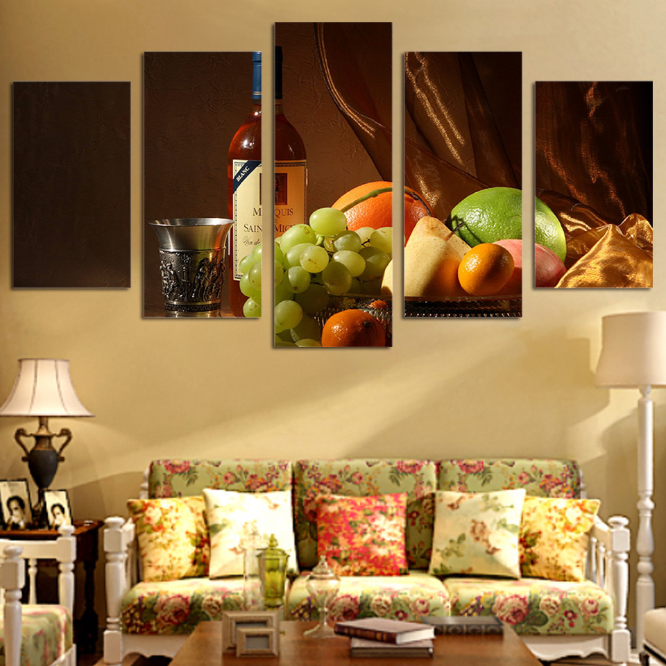 5 Piece Wall Art Picture For Living Home Decor Wine Drink