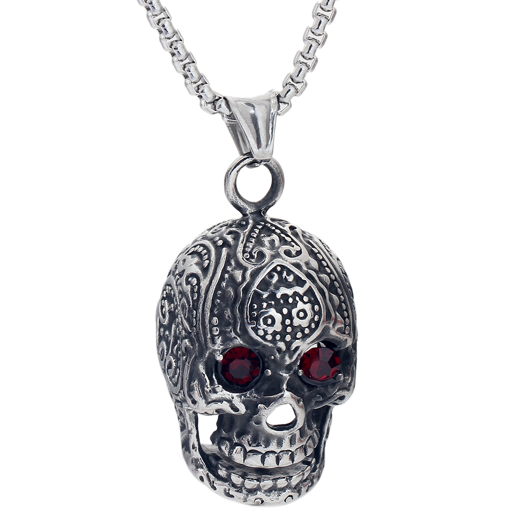 Fashion jewelry vintage carved skull pendant necklace with fashion jewelry vintage carved skull pendant necklace with rhinestone punk mens necklaces pendants 60cm chain in pendant necklaces from jewelry aloadofball Images