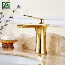 Basin Faucet Deck Mounted Finish Gold Color Mixer Waterfall Tap Cold Hot Single Lever Bathroom Sink Faucet Fountain Tap 130-11