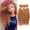 Alionly 7а Бразильский Глубокая Волна Девы Волос #27 Блондинка Меда бразильский Вьющиеся Волосы Переплетения Человеческих Волос Глубокая Волна Связки Русый волос