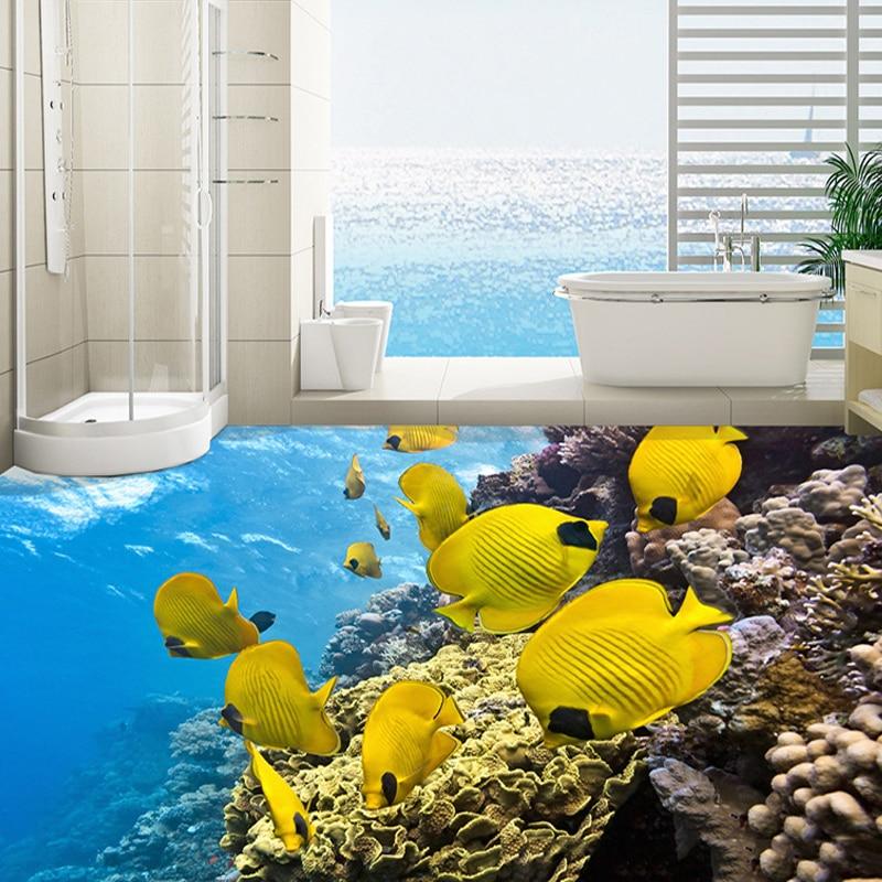 3D Wall Mural Custom Floor Wallpaper Mediterranean Yellow Fish Photo Large Mural Bathroom PVC Wear Self-adhesive Wall Stickers