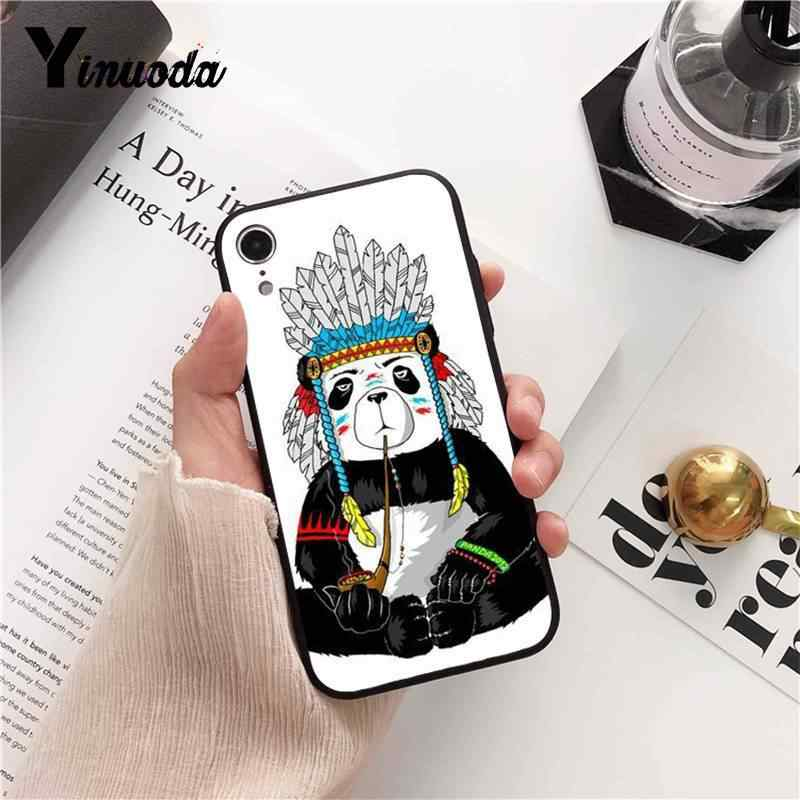 YInuoda Panda Dab on the EM Soft black Phone Case for iPhone 8 7 6 6S Plus  X XS MAX 5 5S SE XR 10 11 11pro 11promax Cover