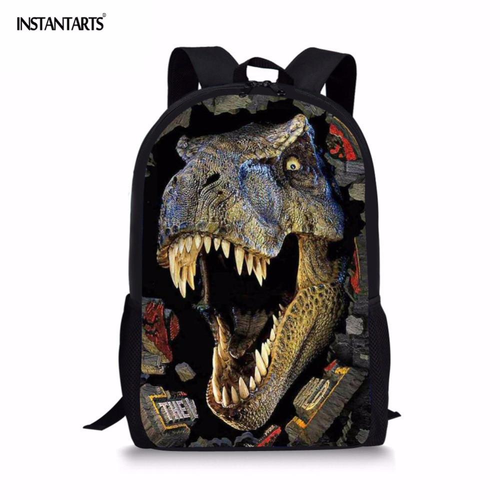 INSTANTARTS Cool Animal Dinosaur Pattern Boy Mochilas Large Backpack Teenager Girl Shoulder Bags Kids School Bag Men Daypack