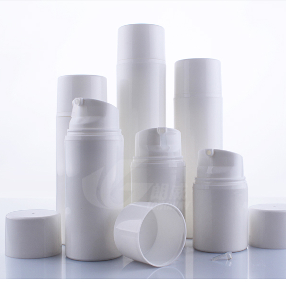 50pcs lot 30ml 50ml 80ml 100ml 120ml 150ml white PP airless bottle vacuum pump bottle lotion