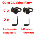 Silent Disco compete system black led wireless headphones - Quiet Clubbing Party Bundle (5 Headphones + 2 Transmitters)