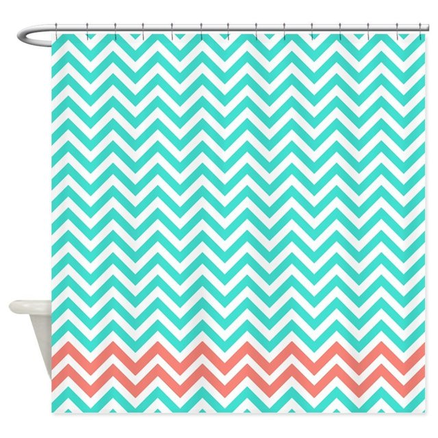 Warm Tour Turquoise And Coral Pink Zigzags Shower Curtain Fabric Polyester Waterproof Bathroom Curtains