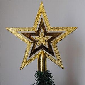 Image 5 - PF gwiazda na szczyt choinki bożonarodzeniowej gwiazda plastikowa gwiazda na choinkę Topper na boże narodzenie wystrój stołu kolorowe rękodzieło Xmas DIY akcesoria