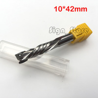Up Down Cut 10x42MM Double Flute 3A Solid Carbide CNC Router Endmill Compression Wood Tungsten End