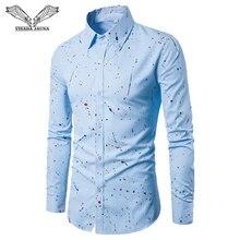 VISADA JAUNA 2017 New Arrival Men Shirt Fashionable Casual Male Brand Clothing Printed Slim Camisa Social Masculina 4XL N1308