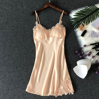 Women's Sexy Lingerie Silk Nightgown Summer Dress Lace Night Dress Sleepwear Babydoll Nightie Satin Homewear Chest Pad Nightwear 3