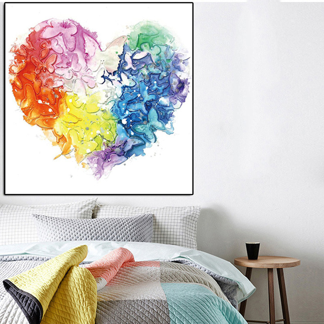 Modern Colorful Butterflies Heart Theme Canvas Oil Painting