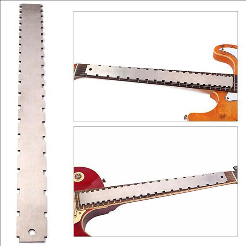 Cheap Sale Guitar Fingerboard Ruler Silver Stainless Steel Guitar Neck Notched Straight Edge Luthiers Tool Guitar Accessories 420*37*3.5mm Strengthening Waist And Sinews Musical Instruments