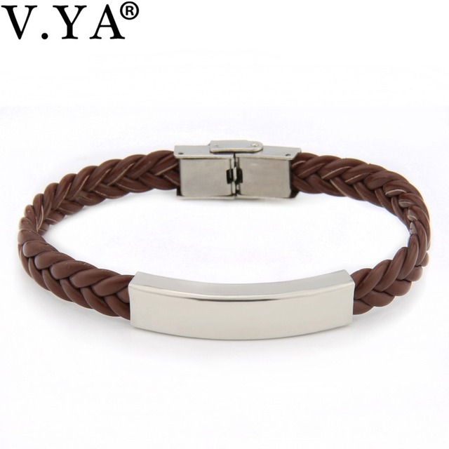3 Color Valentine's Day Laser Engraving logo Bracelets for Lovers Couple Gift Titanium Steel Leather Bracelet for Man Woman