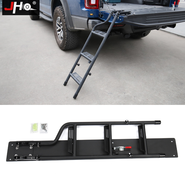 JHO Truck Tailgate Step Ladder For 2015-2018 Ford F150 Raptor 2016 2017 Foldable Pickup Bed Cargo Styling Accessories Parts