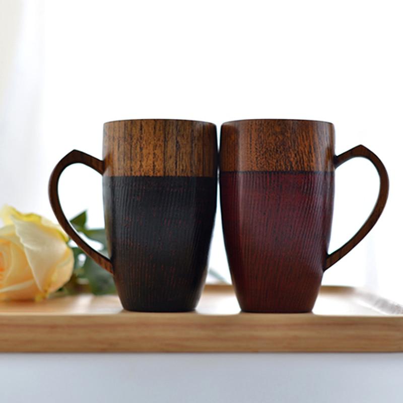 2Pcs Δημιουργικές κούπες ζευγάρι ξύλινο καφέ τσάι Σετ ποττσίλισμα Drinkware Handcraft Ξύλο τσάι Cup ζευγάρια Κούπες καφέ Lovers δώρα Valentine
