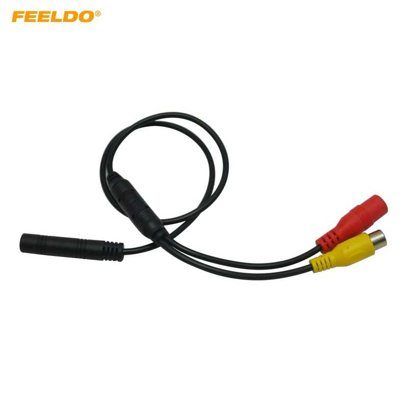 FEELDO 1PC Car Backup Reverse Camera 4-Pin Male To CVBS RCA Female Connector Signal Power Adapter Wire Harness #5678