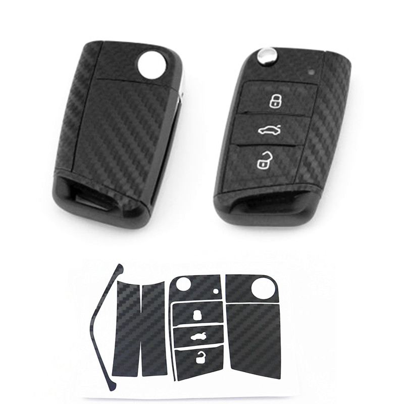 1Set Black <font><b>Carbon</b></font> Fiber Car Key Sticker For VW <font><b>Volkswagen</b></font> <font><b>Golf</b></font> <font><b>7</b></font> MK7 GTI Skoda Octavia A7 A <font><b>7</b></font> 2014 2015 2016 Seat Leon Ibiza image