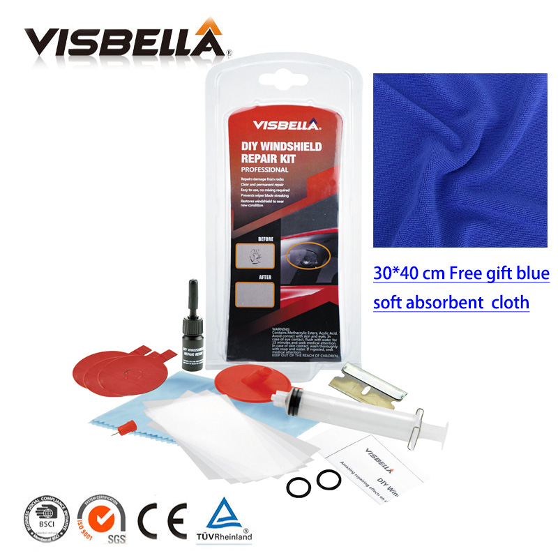 Visbella Glas Windschutz Reparatur DIY Windschutzscheibe Reparatur Kit für Auto Pflege Polieren Chip Riss Sterne Bullseye Fenster Hand Werkzeug Sets