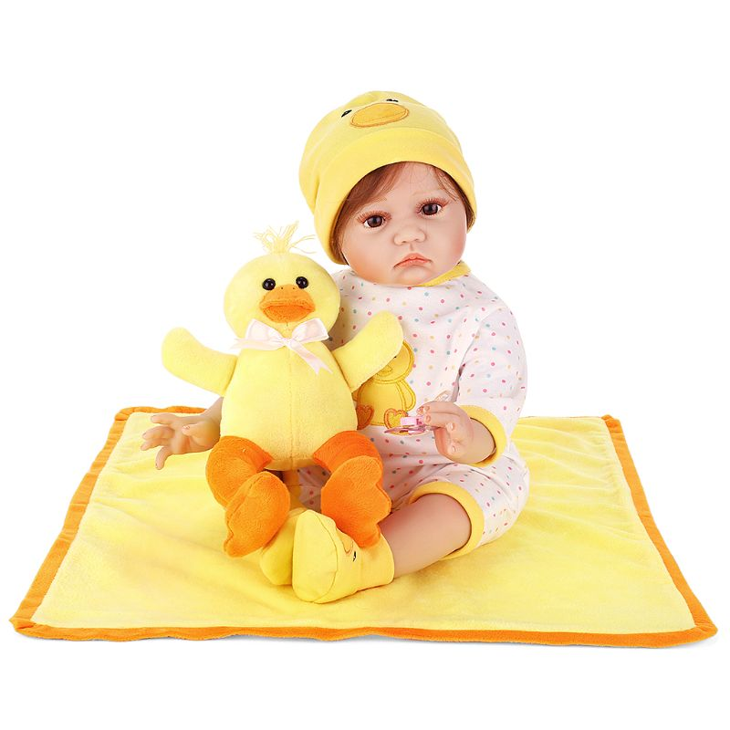 цена на 1 Set 55cm Lifelike Silicon Babydoll Mini Yellow Duck Blanket Cute Toy Early Childhood New