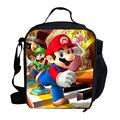 2015 moda de dibujos animados bolsas de Super Mario bolsa para los niños lonchera con material aislante térmico bolsa para los niños niñas de la escuela de los muchachos