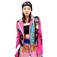 Autumn New Women Brand Thai street Fashion Rivet Leopard print Letters Graffiti print Slim Outerwear motorcycle Leather Jacket