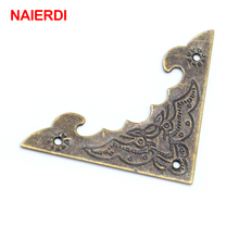 10PCS NAIERDI Decorative Corner Bracket Antique Jewelry Wooden Box Foot Leg Corner Protector Crafts Furniture Fittings Hardware antique jewelry corner protector wooden box frame feet leg decorative protectors for furniture accessories
