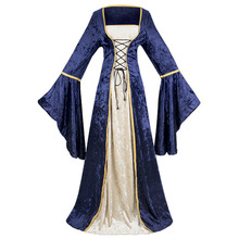 COSMORE Women's victoria Bell sleeve bundled corset Lace up Renaissance vintage dress