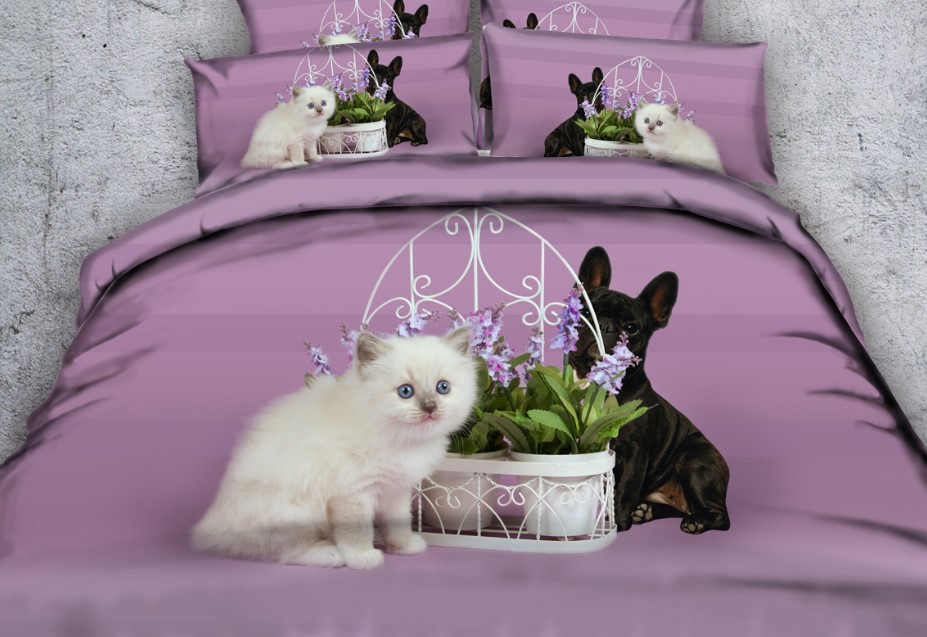 Cat 3d Comforter Set Dog Print Bedding Sets Purple Bed In