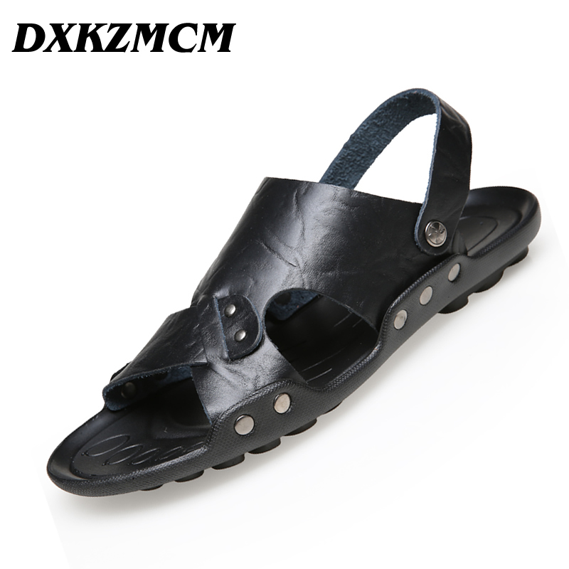 DXKZMCM Men Sandals Slippers Leather Male Summer Shoes 2018 Outdoor Casual Leather Sandals Hombre Men Shoes