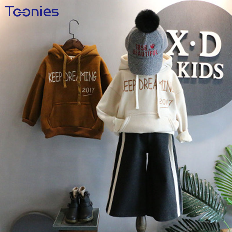 Cashmere Windbreaker for Children Autumn Girls Jacket Fashion Letters Thick Coats Hooded Loose Outwear Casual Boys Trench Coat