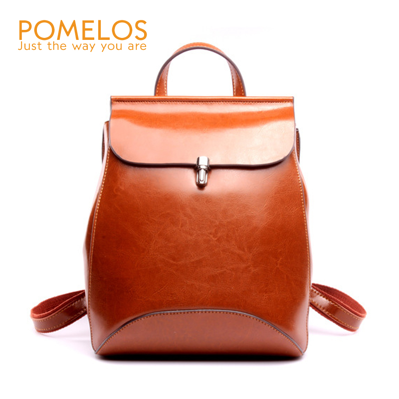 POMELOS Fashion Women Soft Leather Backpack Ladies Back Pack Rucksack Genuine Leather Female Waxing Cow Leather Travel Backpacks free shipping backpack women white and black travel pu leather backpacks ladies fashion female rucksack back bags