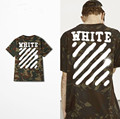 2017 Off White мужская Негабаритных футболка Мужчины Мода Уличная Хип-Хоп Камуфляж Футболка Лето Camiseta Джастин Бибер одежда